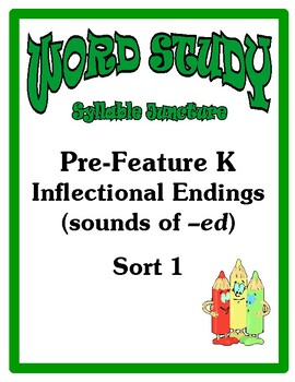 Word Study Syllable Juncture Stage, Pre-Feature K Inflectional Endings