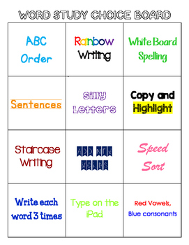 Word Study/Word Work Choice Board
