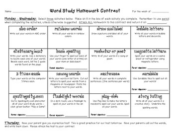 Word Study - Spelling - Word Work Homework Contracts (set of 4)