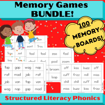 Word Study and Orton Gillingham No Prep Memory Games for Spelling and Reading