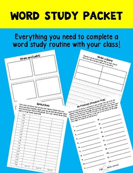Word Study Work Packet: everything you need for weekly word study routine