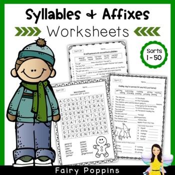 Word Study Worksheets - Syllables & Affixes (No Prep)