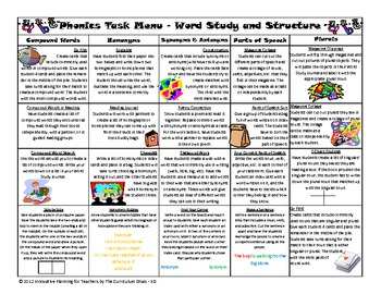 Word Study and Structure Task Menu