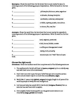 Vocabulary- enhancing student's vocabulary (Lessons 5-8)