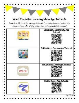 Word Study iPad Learning Menu