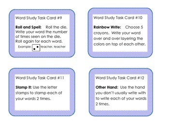 Word Study/Spelling Task Cards