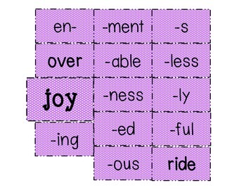 Word Sums Cards_Base Words: Sign, Bore, Joy