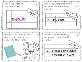 Word Task Cards for spelling, vocabulary, word work