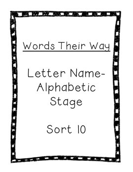 Word Their Way Letter Name Alphabetic sort 10