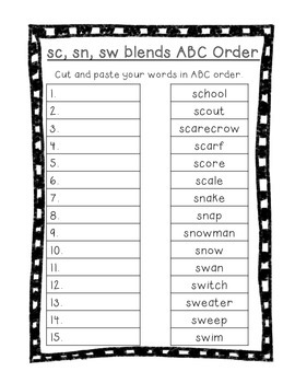 Word Their Way Letter Name Alphabetic sort 20