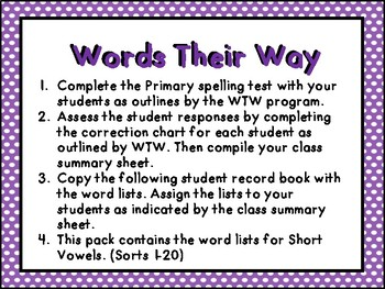 Words Their Way Student Word List Record Booklet