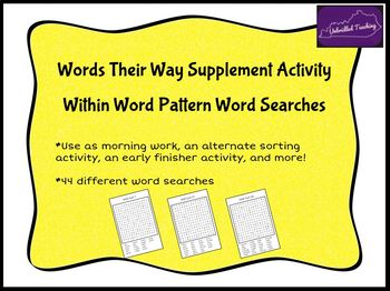 Words Their Way Word Searches - Within Word Pattern Sorts