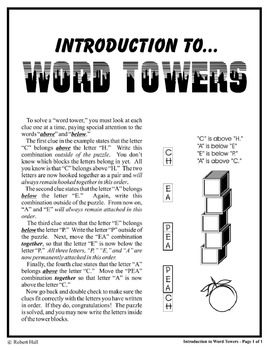 """Word Towers"" Puzzles Activity (Cross Curricular Spelling, Vocabulary, and Math)"