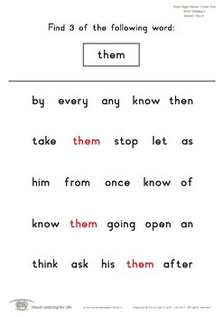 Word Tracking (1st Grade)