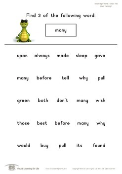 Word Tracking (2nd Grade)