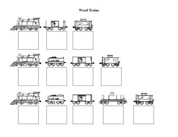 Word Trains Worksheet