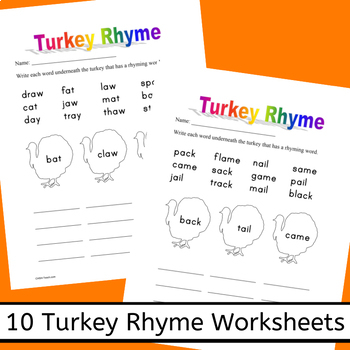 Word Turkeys - A Thanksgiving unit for Word Families, Sight & Rhyming Words
