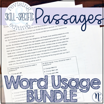 Word Usage BUNDLE: Skill-Specific Revising and Editing Passages