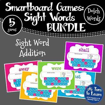 Word Value Game BUNDLE for Dolch Sight Words - Smartboard/Promethean Board!
