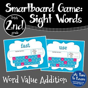 Word Value Game for Dolch 2nd Grade Words - Smartboard or