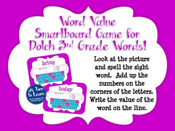Word Value Game for Dolch 3rd Grade Words - Smartboard or Promethean Board!