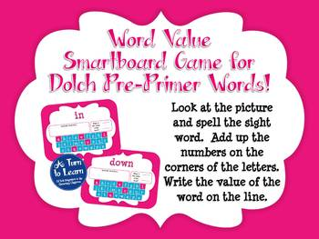 Word Value Game for Dolch Pre-Primer Words - Smartboard or Promethean Board!