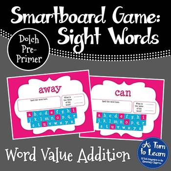Word Value Game for Dolch Pre-Primer Words - Smartboard or
