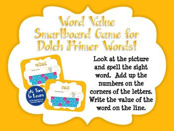 Word Value Game for Dolch Primer Words - Smartboard or Promethean Board!