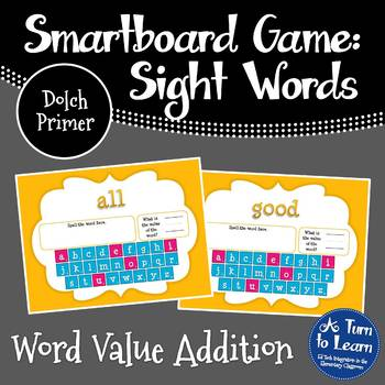 Word Value Game for Dolch Primer Words - Smartboard or Pro