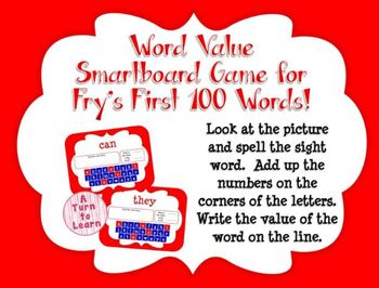 Word Value Game for Fry's 1st 100 Words - Smartboard or Pr
