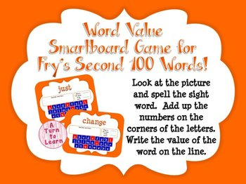 Word Value Game for Fry's 2nd 100 Words - Smartboard or Pr