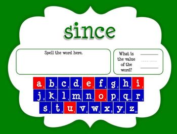 Word Value Game for Fry's 4th 100 Words - Smartboard or Promethean Board!