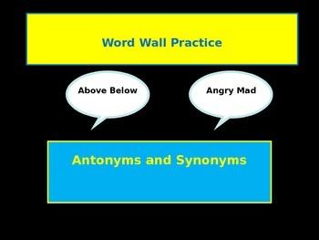 Word Wall Antonyms Synonyms