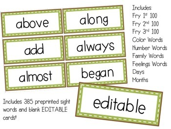 Editable Word Wall Set - Letters plus Sight Words