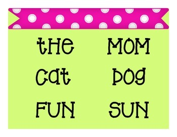 Word Wall 2 & 3 Letter Word Classroom Decor in Pink & Green Polka-Dot
