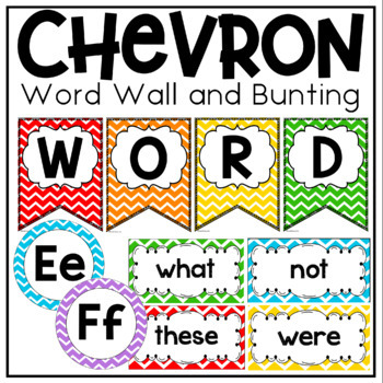 Word Wall {Primary Colors Chevron Classroom Decor Theme}