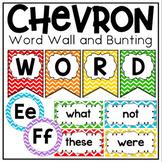 Word Wall in a Rainbow Chevron Classroom Decor Theme
