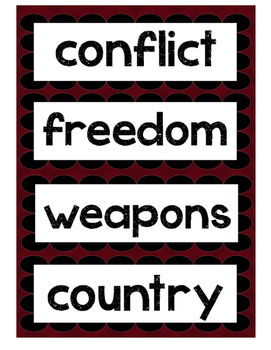 Word Wall- 28 words in relation to war