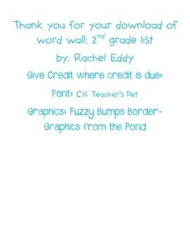 Word Wall- 2nd grade