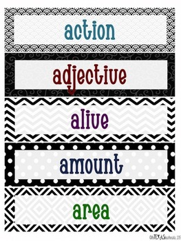 Word Wall - 4th Grade High Frequency Words: Black and White Theme {BUNDLE}