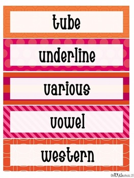 Word Wall - 4th Grade High Frequency Words: Pink and Orange Theme {BUNDLE}