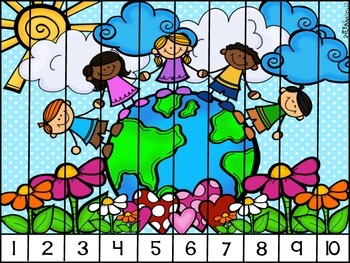 Skip Counting Puzzles: Earth Day Theme