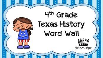 Word Wall: 4th Grade Texas History (Entire Year)