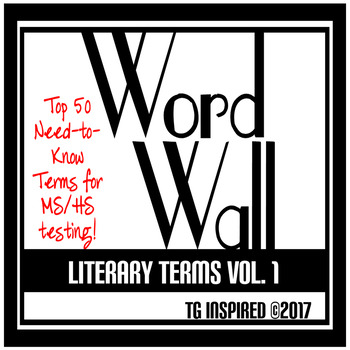 Word Wall: 50 Essential Literary Terms for Tests! Vol.1 -- Sharp Black