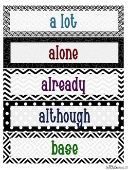 Word Wall - 5th Grade High Frequency Words: Black and White Theme {BUNDLE}