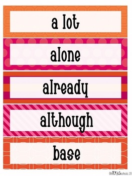 Word Wall - 5th Grade High Frequency Words: Pink and Orange Theme {BUNDLE}