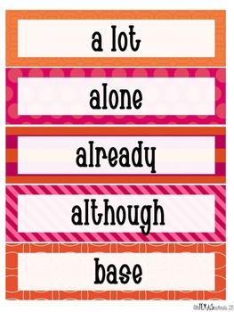 Word Wall - 5th Grade High Frequency Words: Pink and Orange Theme {SET 1}