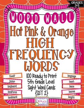 Word Wall - 5th Grade High Frequency Words: Pink and Orange Theme {SET 2}