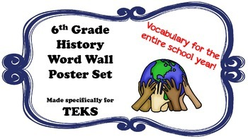 Word Wall: 6th Grade History (Entire Year)