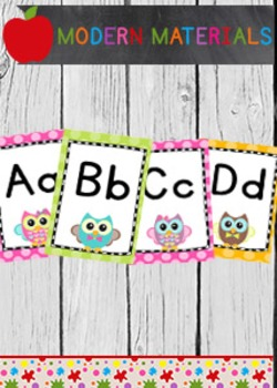 Word Wall ABC Headers - Owls and Polka Dots - Super Cute